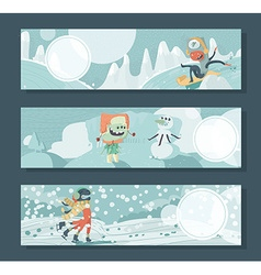 Horizontal banners with monsters playing outdoor vector image