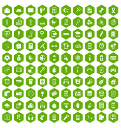 100 mobile app icons hexagon green vector