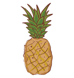 A cartoon pineapple whole fruit with green leaves vector