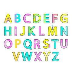 alphabet colorful letters set vector image