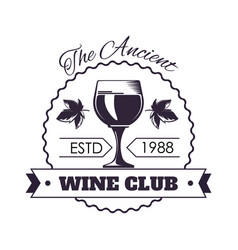 ancient wine club monochrome emblem with full vector image