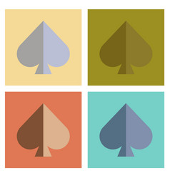 Assembly flat icons poker game spades vector