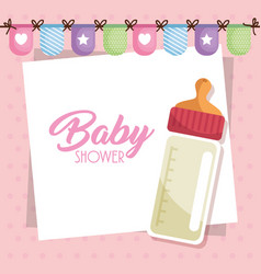 Baby shower card with milk bottle vector