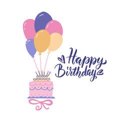 beautiful big cake flying on bunch balloons vector image