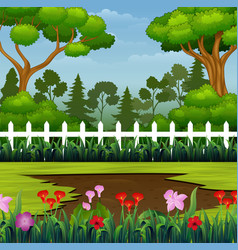 Beautiful park with muddy puddle on ground vector