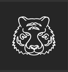 Bengal tiger chalk white icon on black background vector