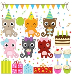 birthday party cats vector image