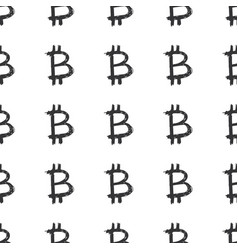 bitcoin sign icon brush lettering seamless vector image
