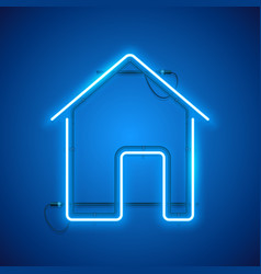 Blue neon home sign vector