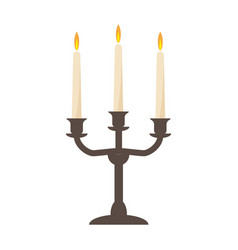 burning old candle vintage candlestick vector image