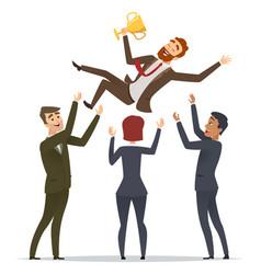 Business victory happy team congrats his mentor vector