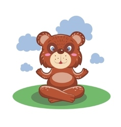 Character cute and beautiful bear practice of yoga vector