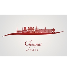 Chennai skyline in red vector