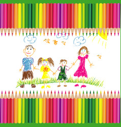 children drawing happy family vector image