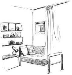 Children roomgraphic black white interior sketch vector