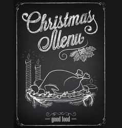 Christmas menu on chalkboard vector