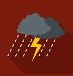 cloud thunder icon flat style vector image