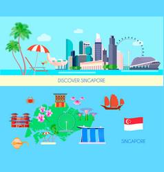 Colored singapore culture banner set vector