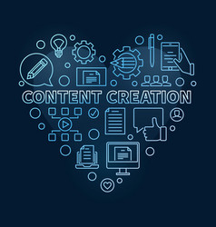 Content creation heart blue linear vector