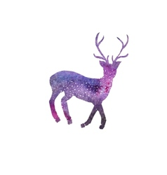 Cosmic deer Watercolor galaxy deer on the white vector image