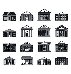 Courthouse building icons set simple style vector