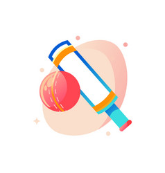 cricket ball and bat on gray color background vector image