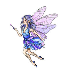 Cute blue hair fairy with pink wings and wand vector