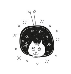 cute cat in space print childish vector image