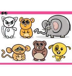 Cute kawaii animals cartoons vector