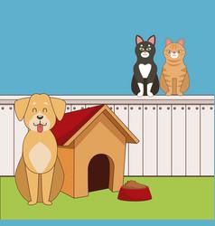 cute pets cartoon vector image