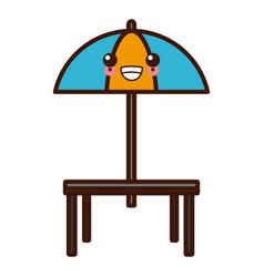 Desk and umbrella restaurant kawaii cute cartoon vector