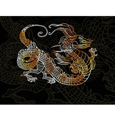 Dragon on dark background vector image