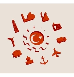 Energy and Power icons set with Turkey flag vector
