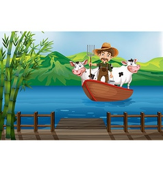 Farmer and boat vector image