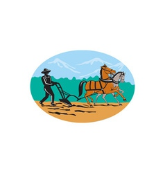 Farmer and Horses Plowing Field Cartoon vector image