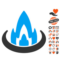 Fire location icon with valentine bonus vector