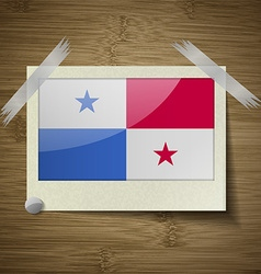 Flags Panama at frame on wooden texture vector image