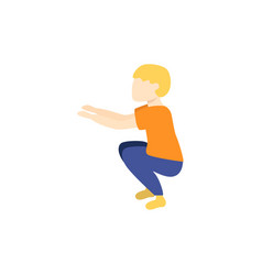 flat boy kid doing squat exercises vector image