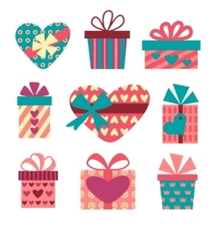 Gift boxes set for Valentines Day vector