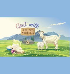 goat and kid in mountain landscape vector image