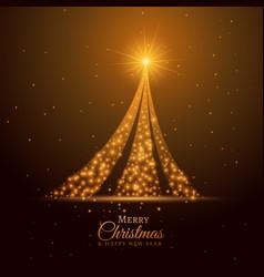 golden sparkle christmas tree design background vector image