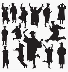Graduation silhouettes vector
