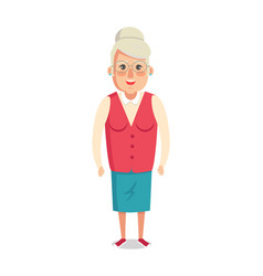 grandmother in red jacket and blue skirt vector image