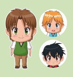 green color set cute anime tennagers with facial vector image