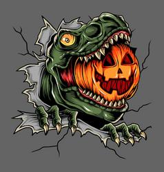 Halloween t rex head eats pumpkin vector