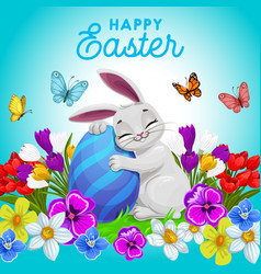 Happy easter poster with bunny hugging egg vector