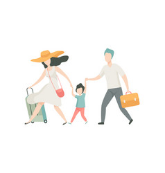 happy family travelling together with suitcases vector image