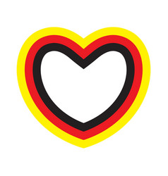 heart with contours of german flags colors vector image