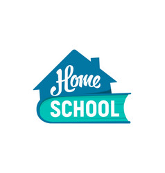 Home schooling logo distance learning icon vector