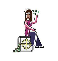 Indian businesswoman sitting on bank safe vector